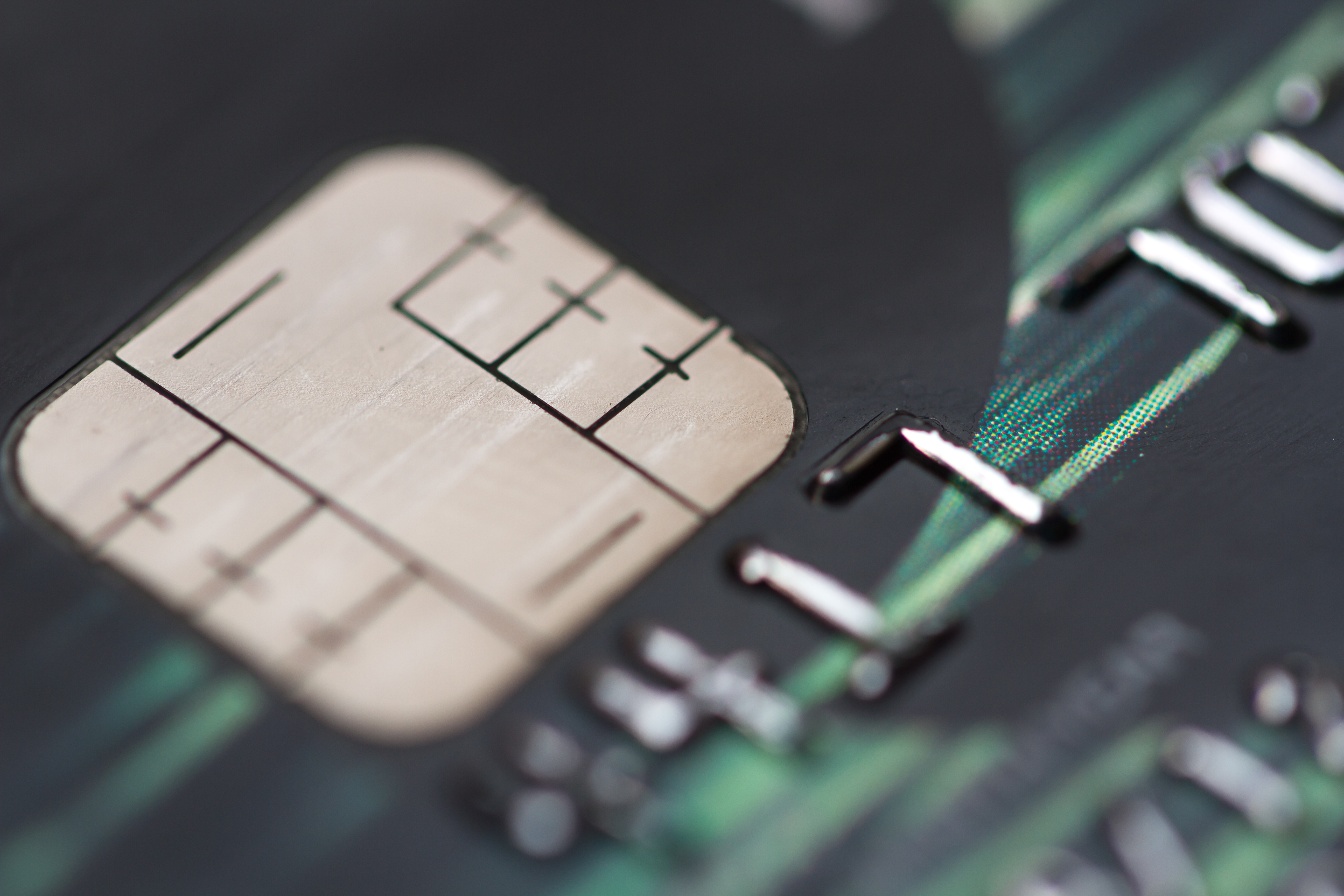 Close up EMV chip credit card