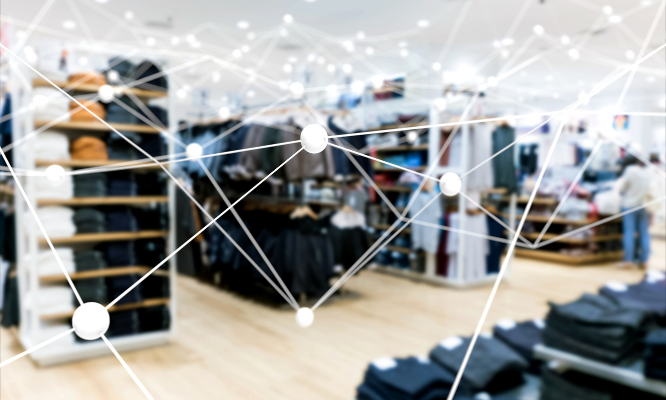 Atom connect with blur fashion retail shop e-commerce store concept