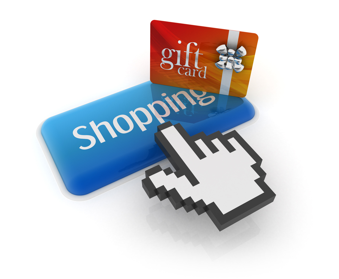 3D Rendering, shopping concept with gift card