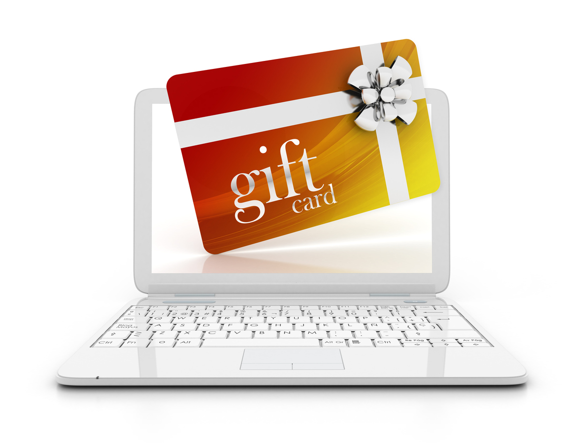 Laptop with online gift card