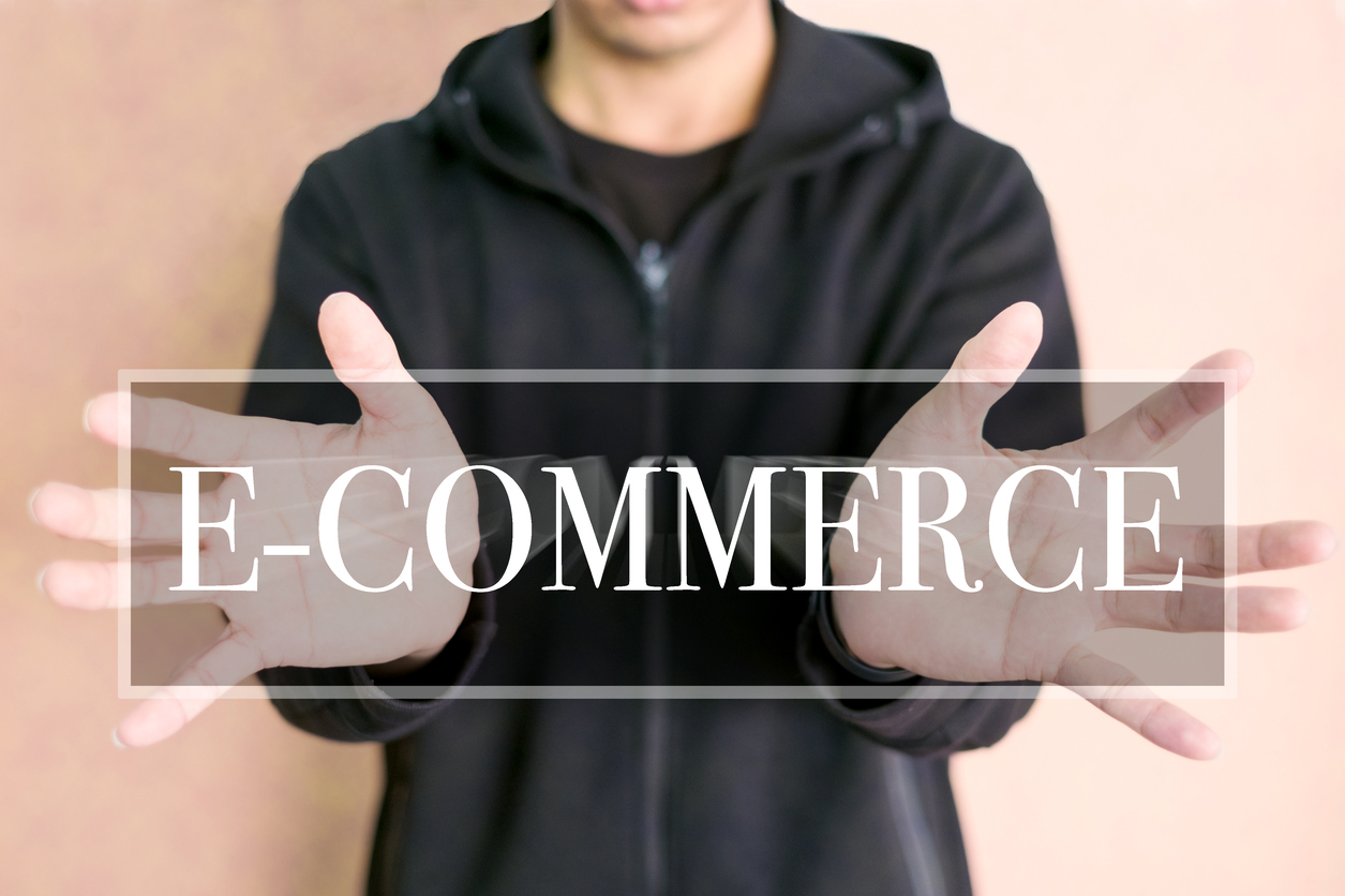 E-commerce processing concept on a digital screen in human hand