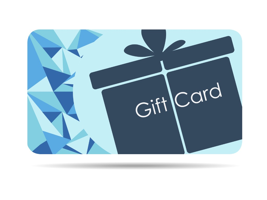 Online gift cards concept. Blue gift card vector